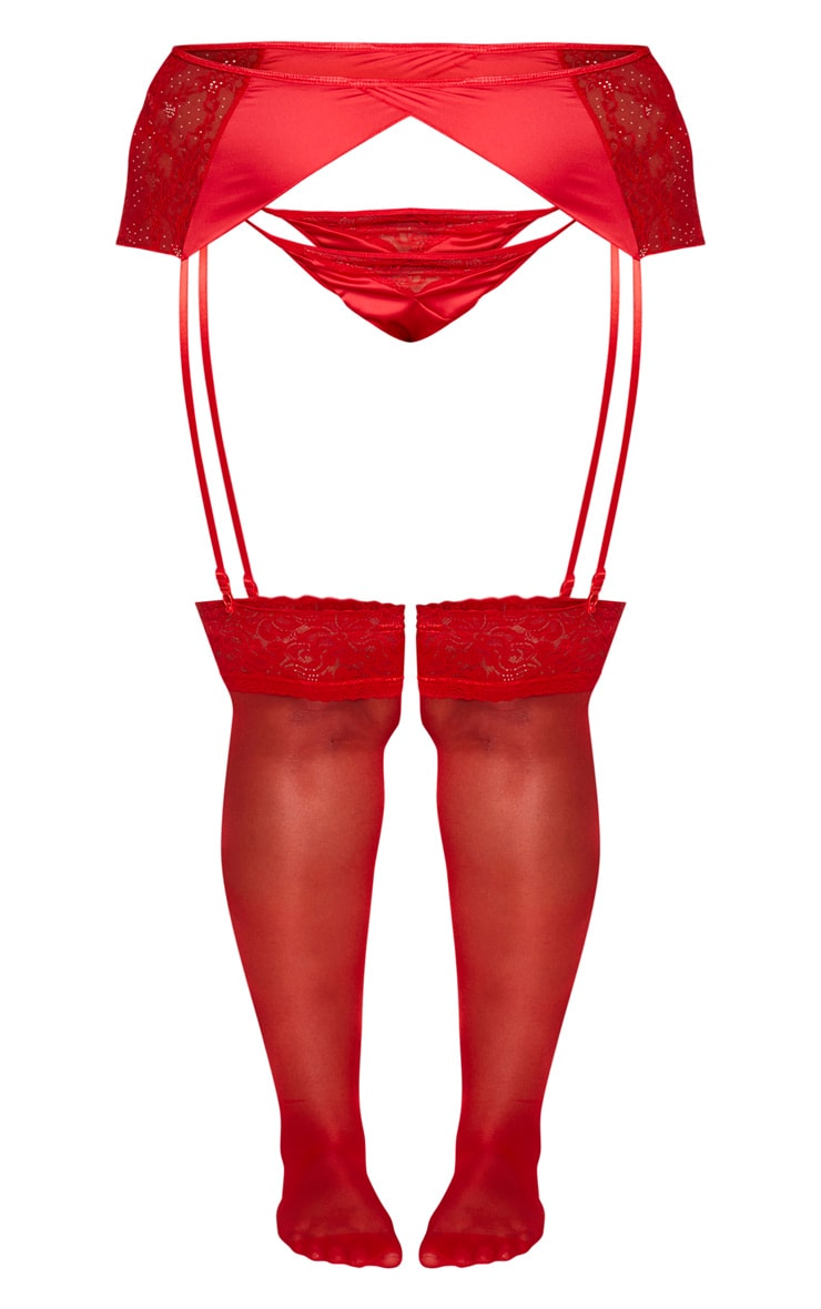 Plus Red Floral Lace And Satin Suspender Belt 4