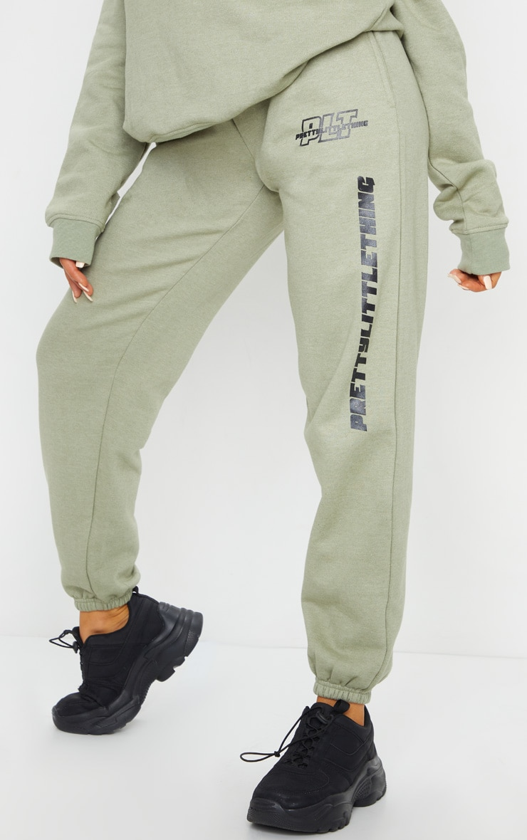 PRETTYLITTLETHING Sage Green Slogan Joggers 2