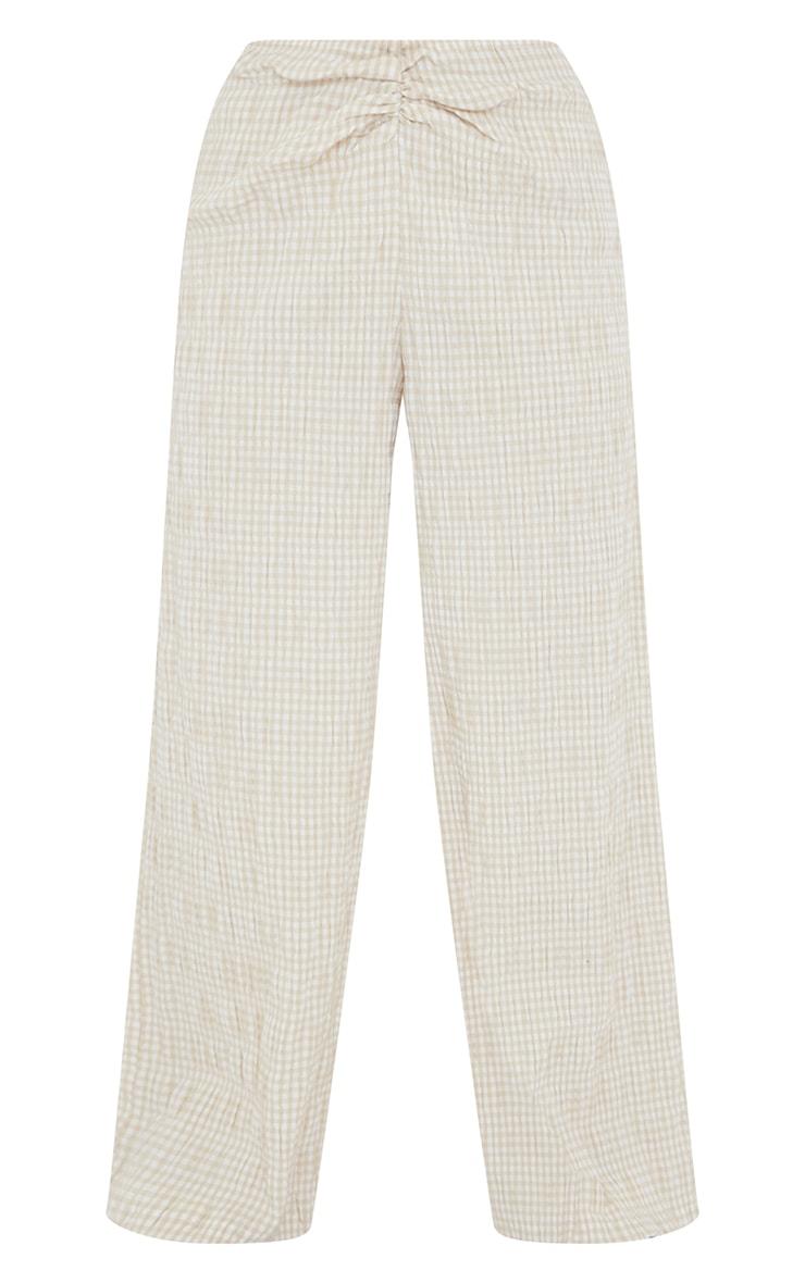 Petite Stone Gignham Ruched Wide Leg Pants 5