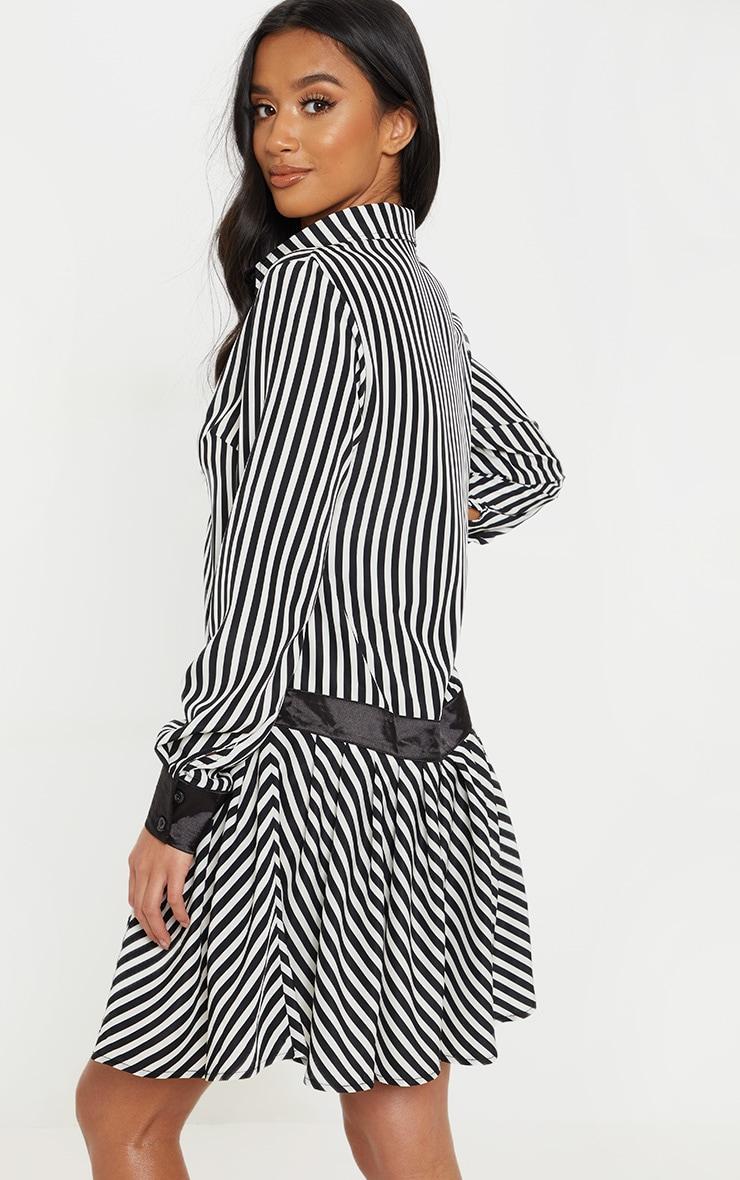 Petite Monochrome Drop Hem Mixed Stripe Print Shirt Dress 2