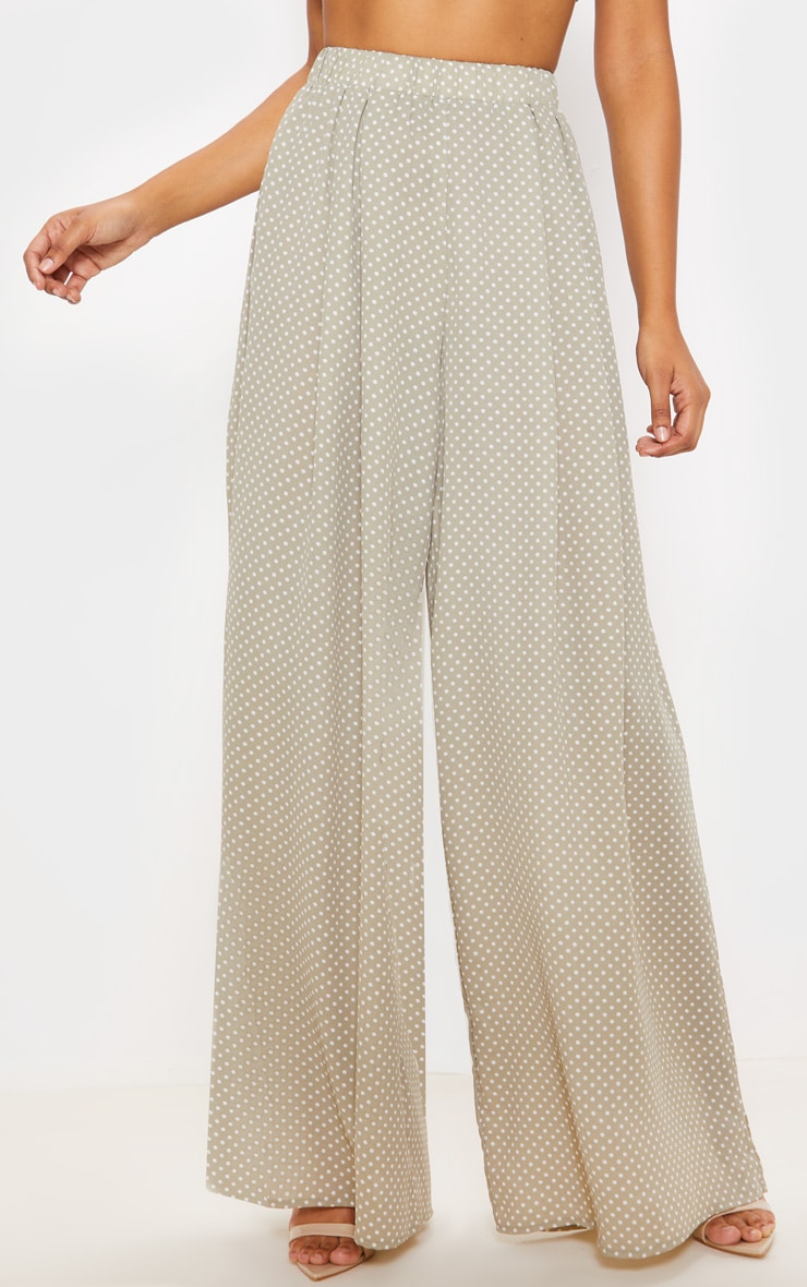 Sage Green Polka Dot Print Wide Leg Trouser 2