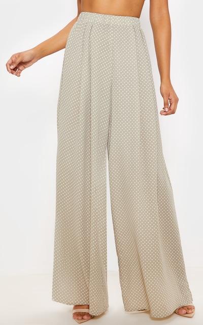 Sage Green Polka Dot Print Wide Leg Trouser