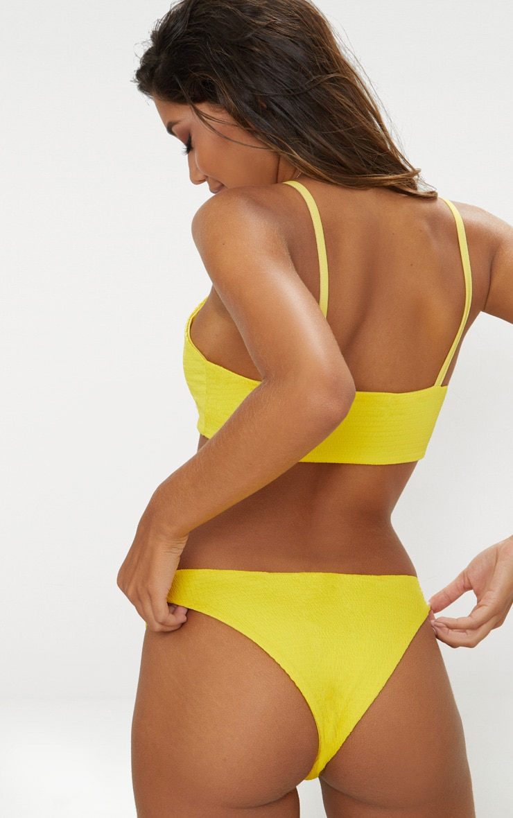 Yellow Crinkle Scoop Neck Bikini Top 2
