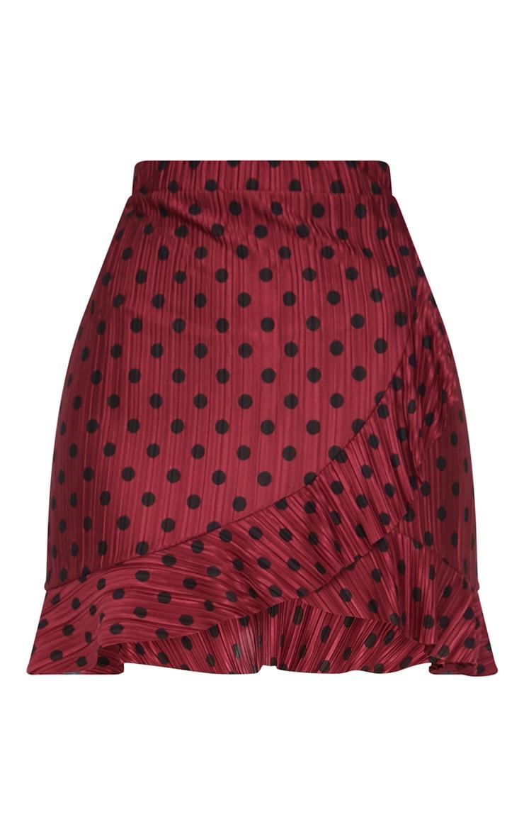 Burgundy Plisse Polka Dot Frill Wrap Mini Skirt  3