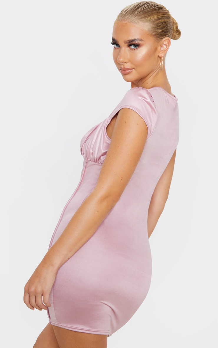 Rose Metallic Slinky Ruched Bust Bodycon Dress 2