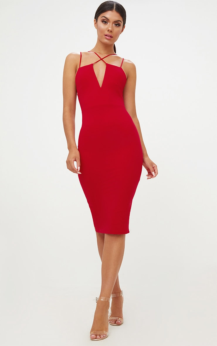 Red Cross Front Strappy Back Plunge Front Midi Dress 5