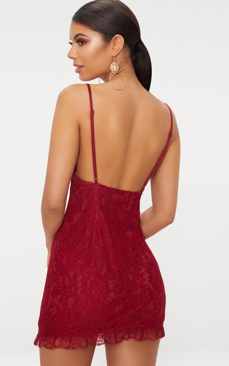Burgundy Strappy Lace Shift Dress 2