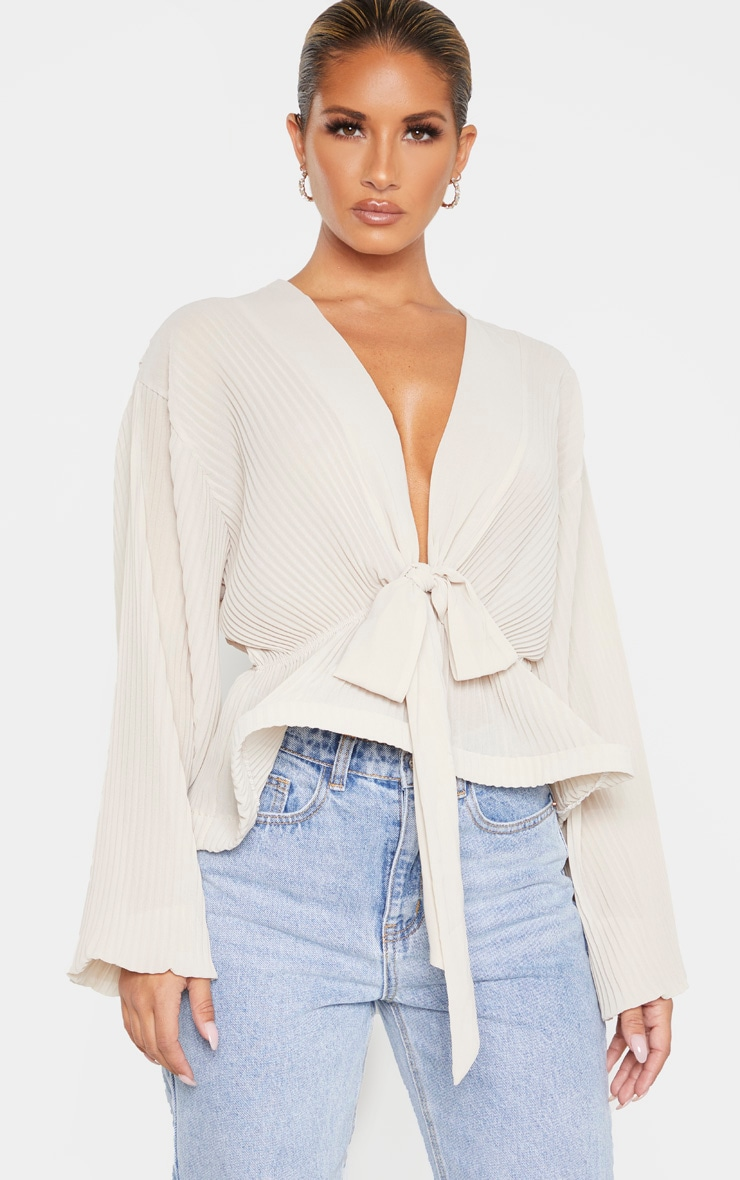 Nude Chiffon Pleated Flounced Hem Blouse 1