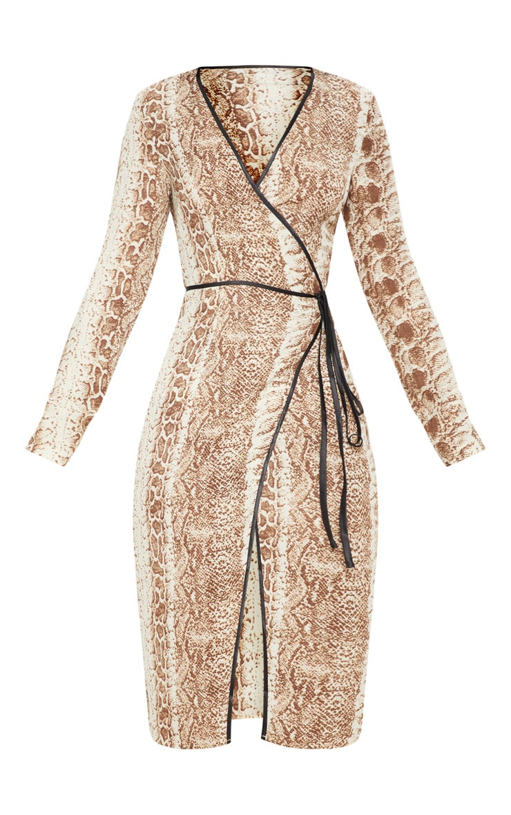 Tan Snake Print Binding Detail Wrap Midi Dress 3