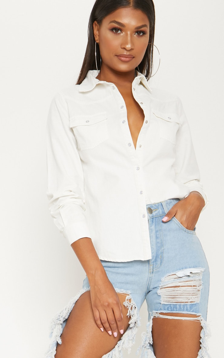 White Western Cropped Denim Shirt  1