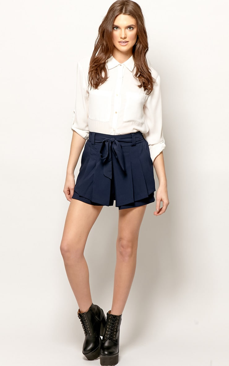 Montana Navy Pleated Shorts  1