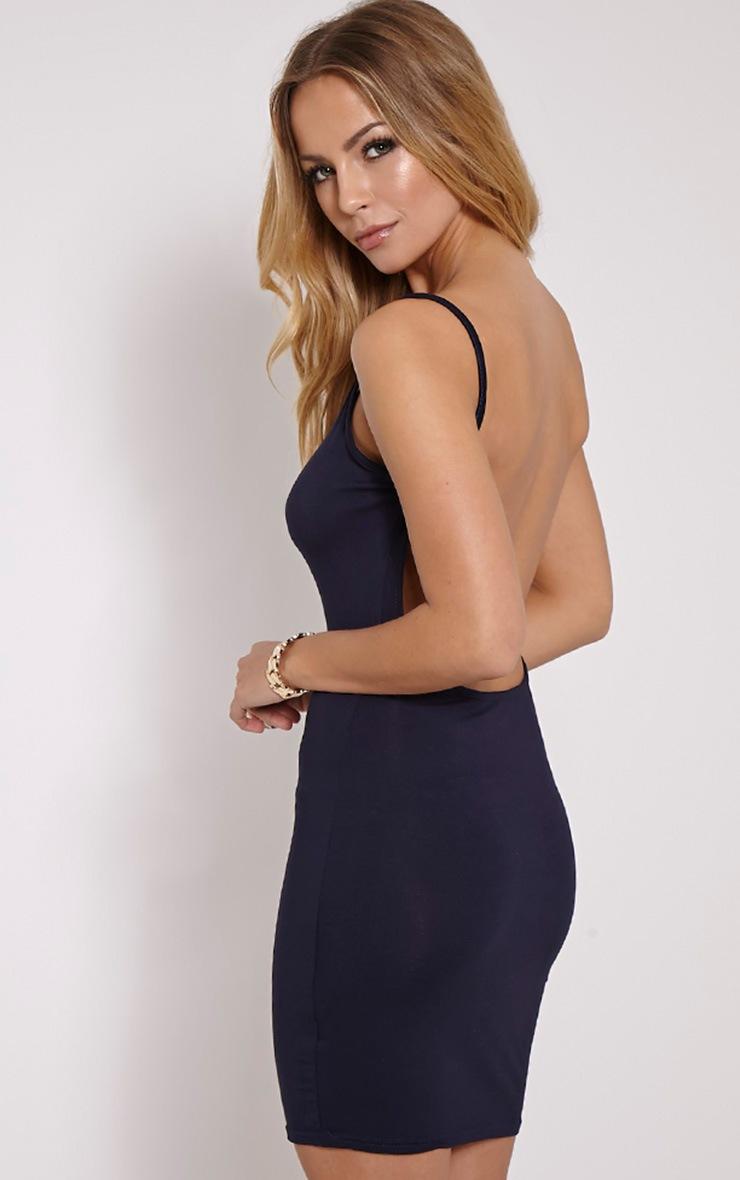 Natallia Navy Scoop Back Dress 1
