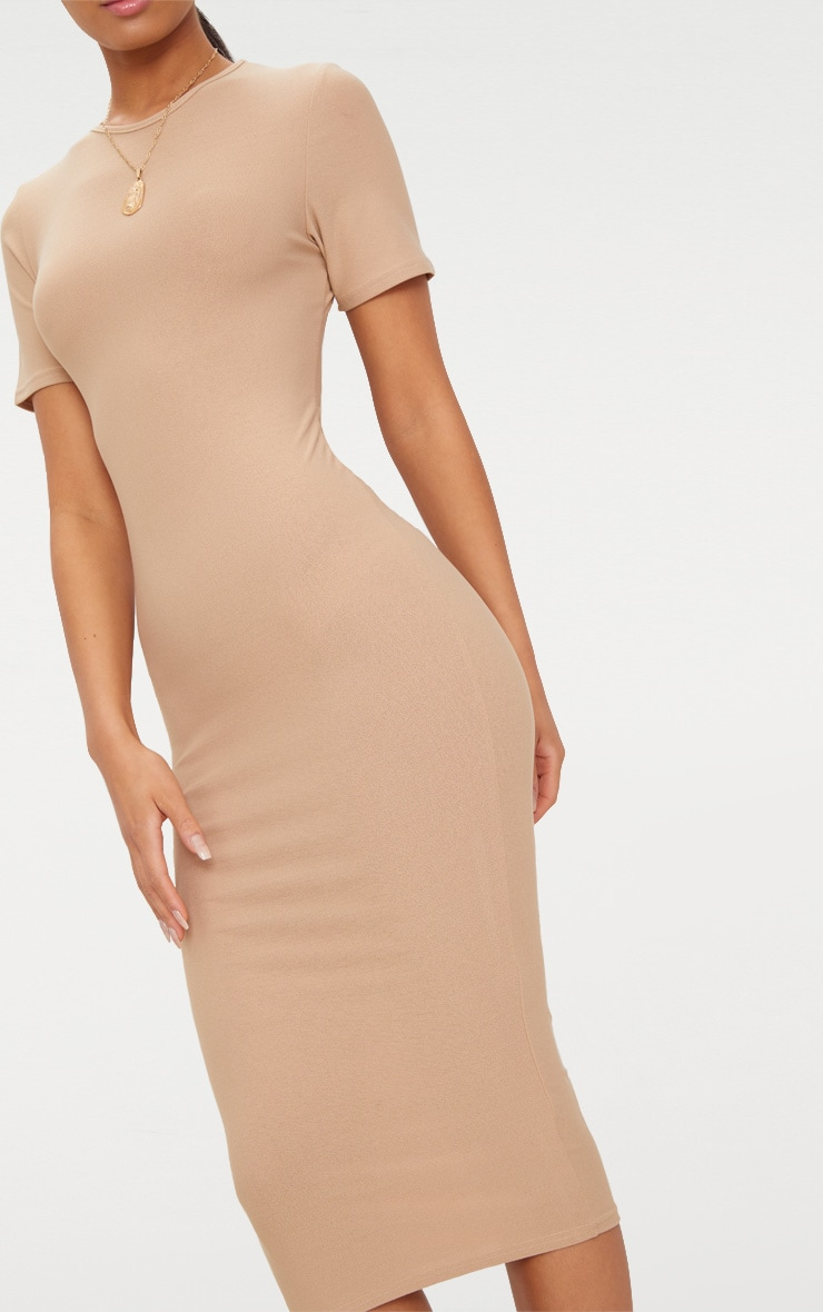 Basic Taupe Cap Sleeve Midi Dress  5