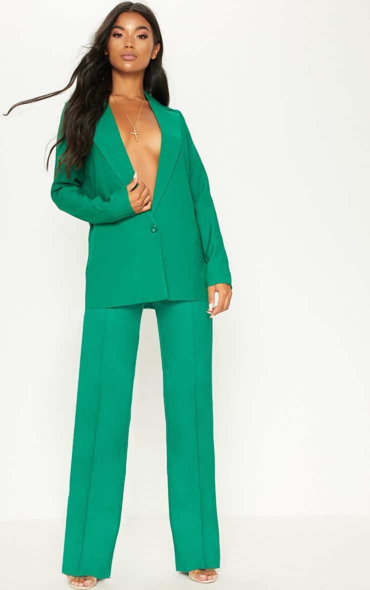 Green High Waisted Straight Leg Pants 1