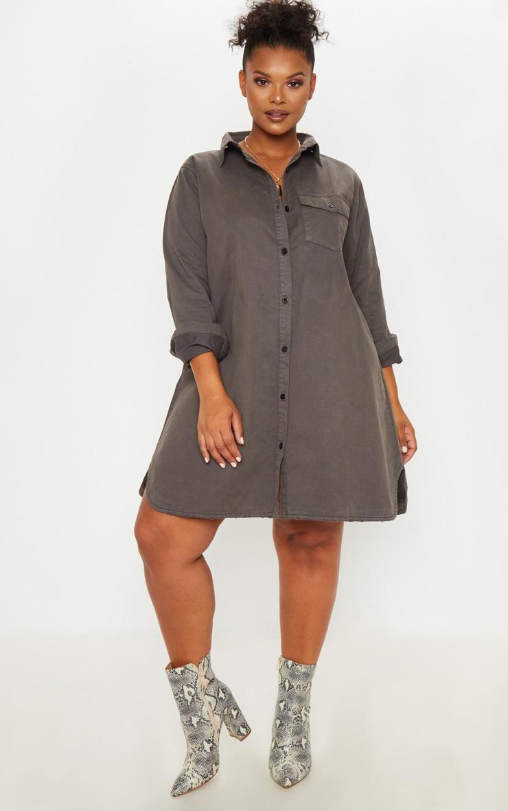 Plus Charcoal Oversized Denim Shirt Dress 1