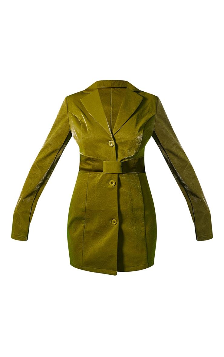 Green Textured PU Long Sleeve Cut Out Waist Blazer Dress 5