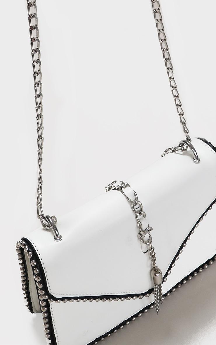 White PU Chain And Tassel Trim Cross Body Bag 3