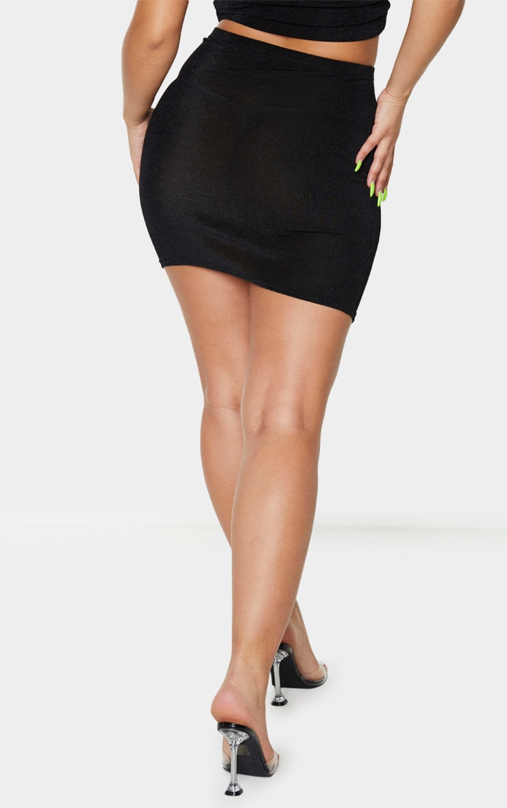 Black Slinky Acetate Ruched Side Mini Skirt 3