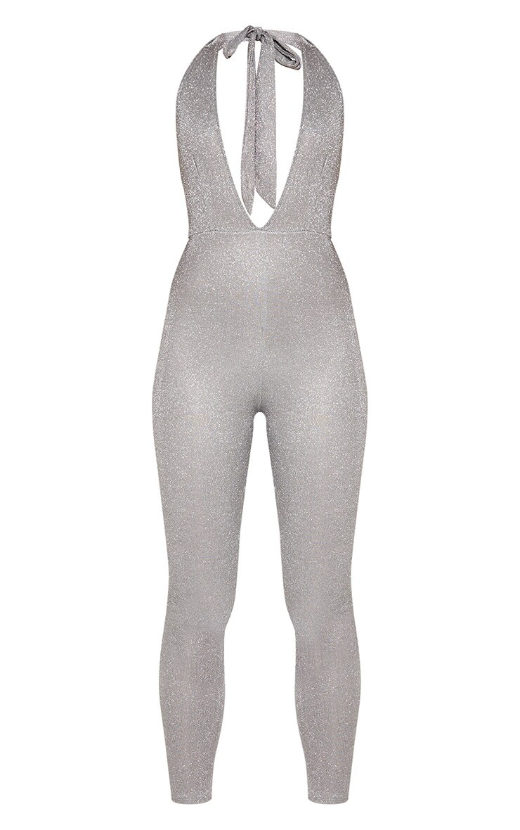 Silver Glitter Halterneck Slim Leg Jumpsuit 4