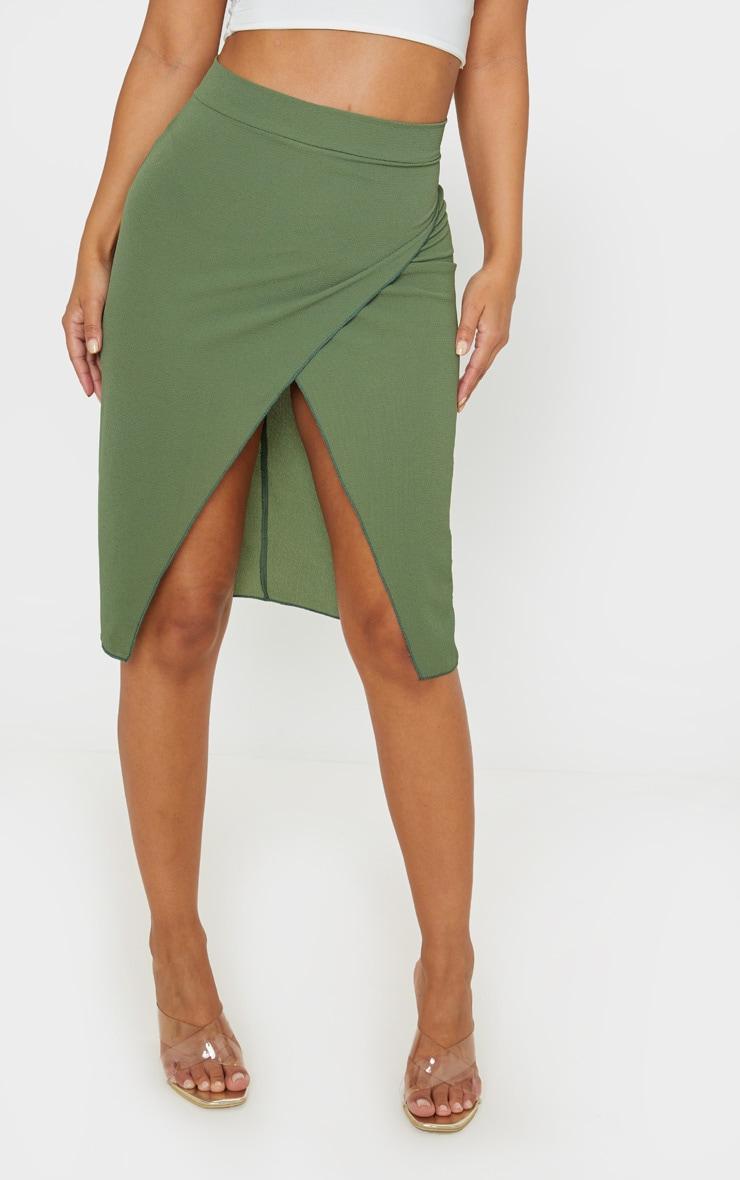 Petite Khaki Wrap Pencil Skirt  2