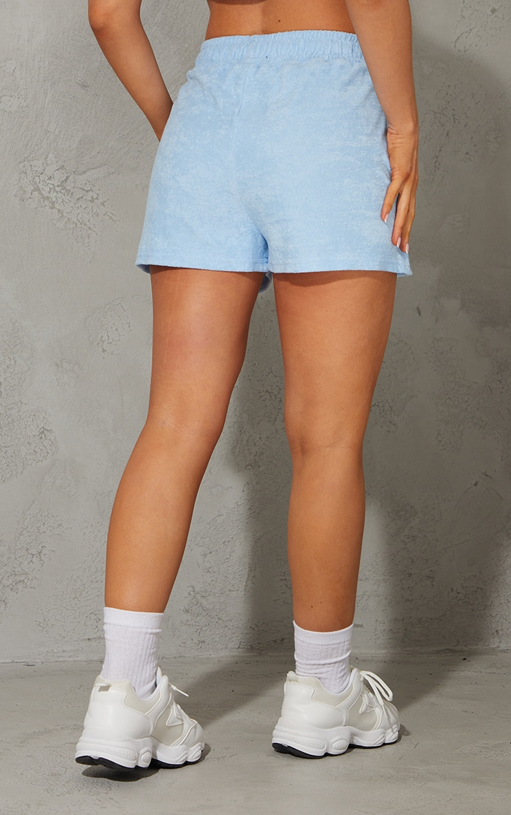 Baby Blue Toweling Runner Shorts 3