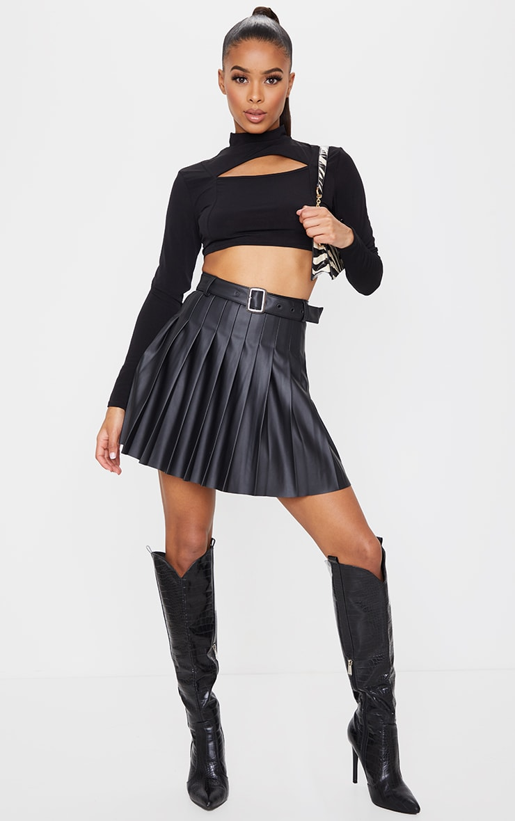 Black Faux Leather Belted Skater Skirt 4
