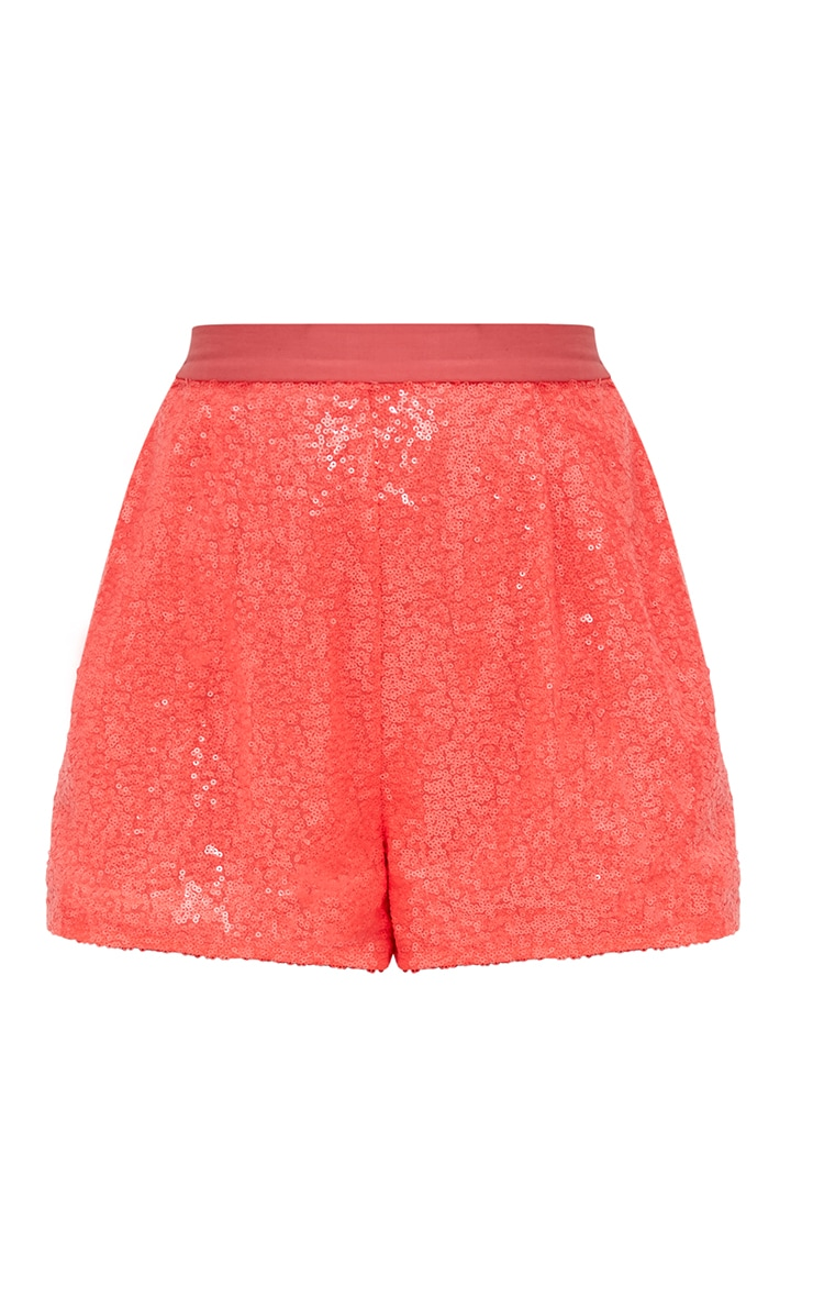 Coral Sequin Shorts 3