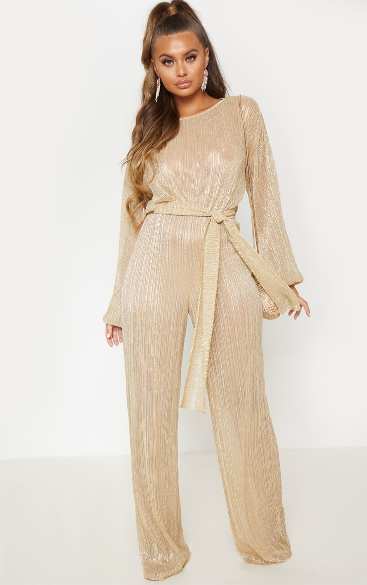 Gold Metallic Sheer Plisse Wide Leg Jumpsuit 2