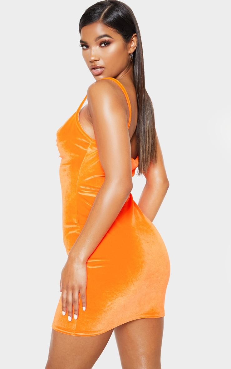 Neon Orange Velvet Cowl Neck Bodycon Dress 2