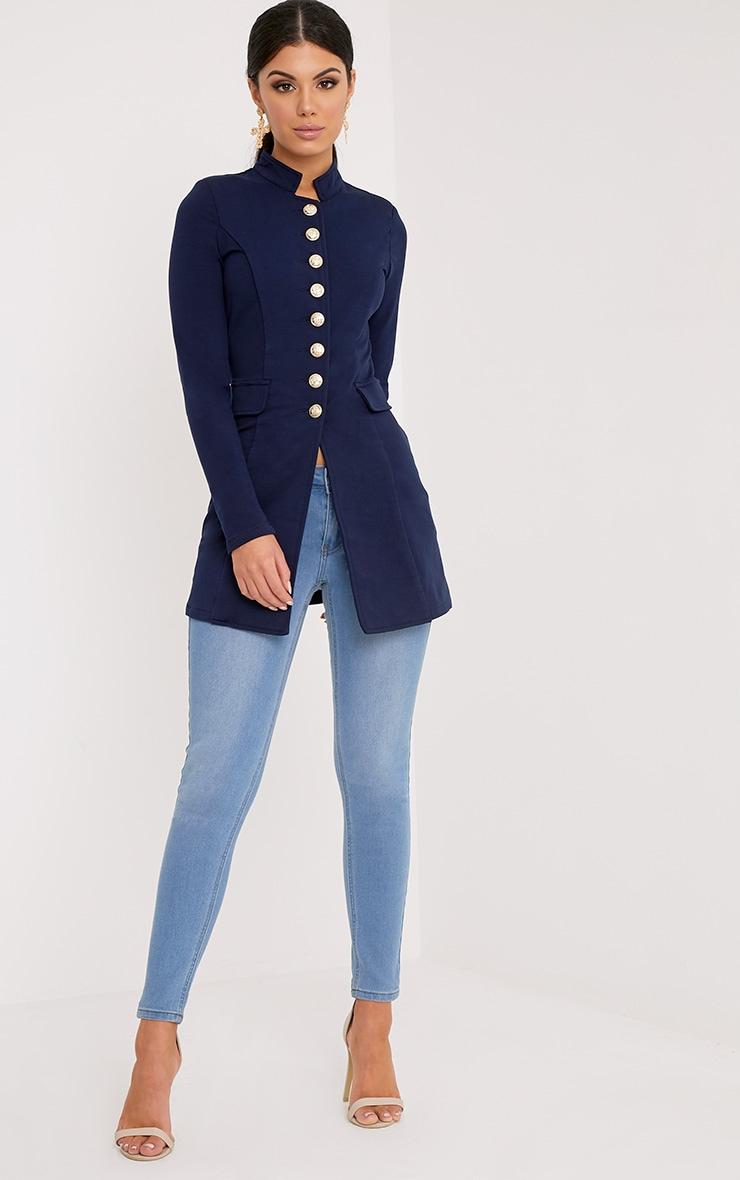 Deleana Navy Longling Military Style Jacket 1