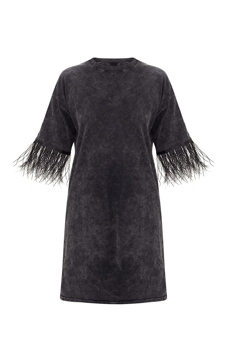Acid Wash Feather Trim T Shirt Dress 3