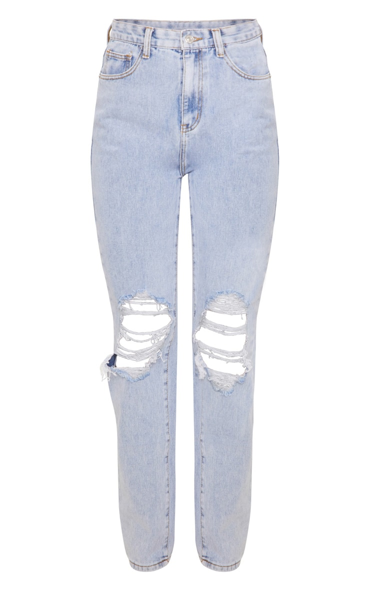 Light Wash Ripped Knee Long Leg Straight Jeans 3