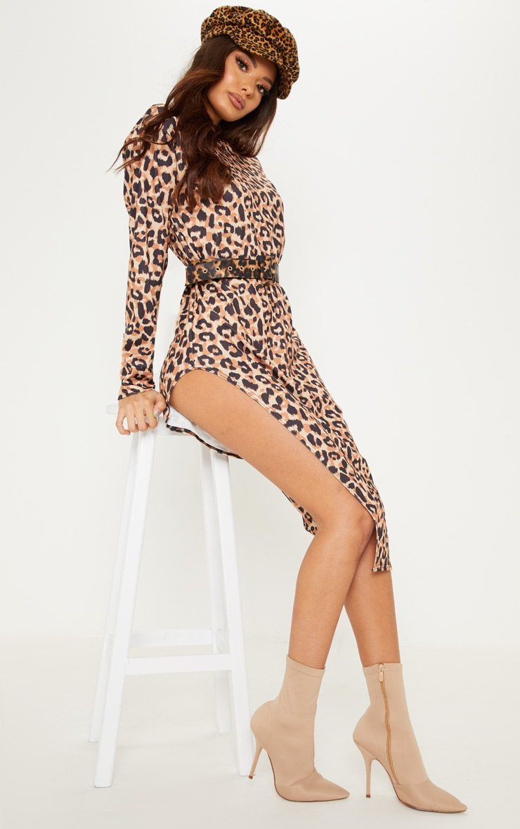 Brown Leopard Print Midi Jumper Dress 4