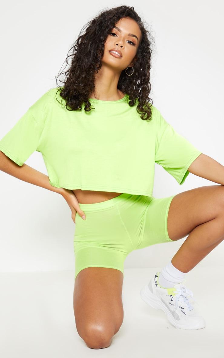 T-shirt court en jersey vert citron 1