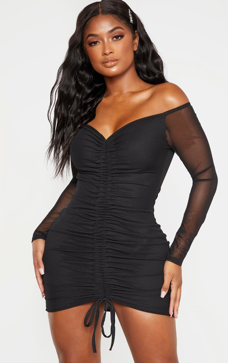 Shape Black Mesh Ruched Bardot Bodycon Dress 1
