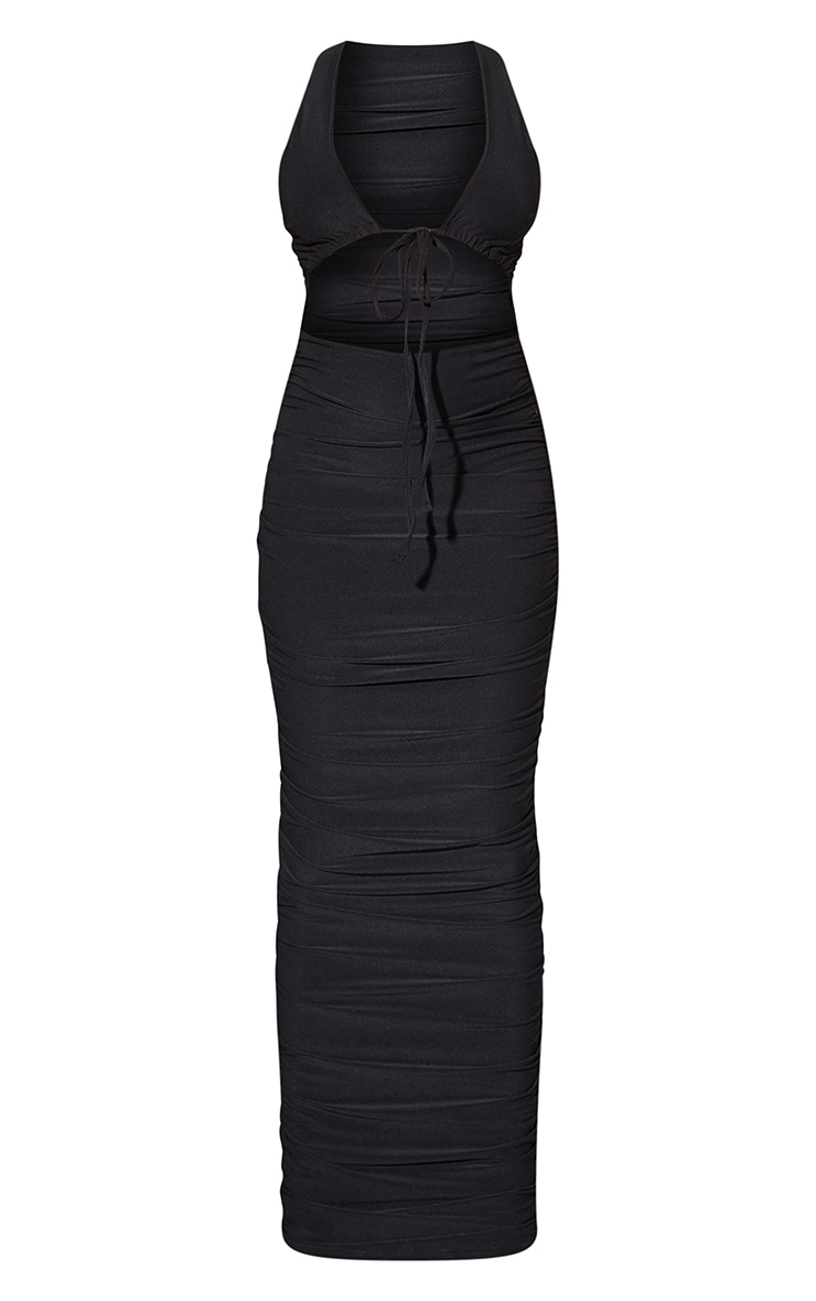 Black Slinky Tie Bust Detail Cut Out Gathered Skirt Midaxi Dress 5