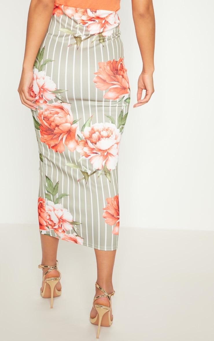 Sage Green Scuba Print Midi Skirt 4