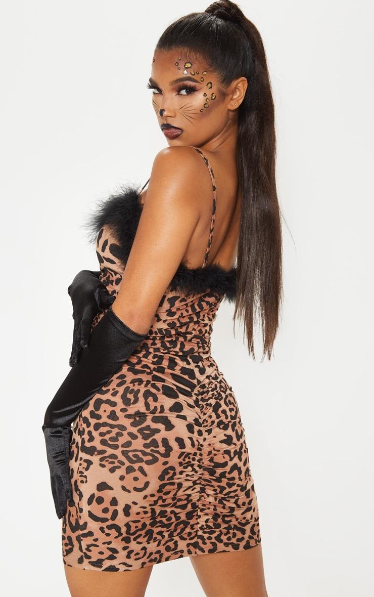 Leopard Print Strappy Feather Trim Bodycon Dress 2