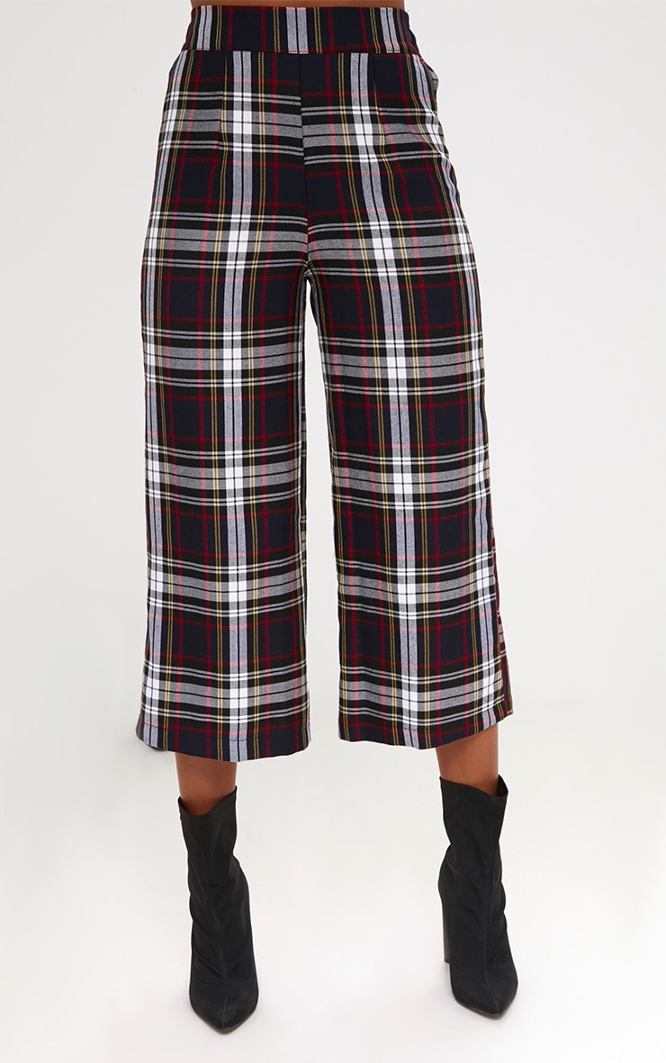 Black Check High Waisted Culottes 2