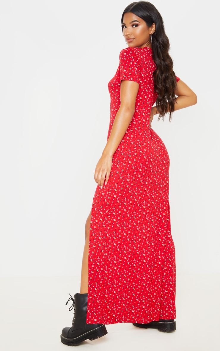 Red Ditsy Floral Split Detail Maxi Dress 2