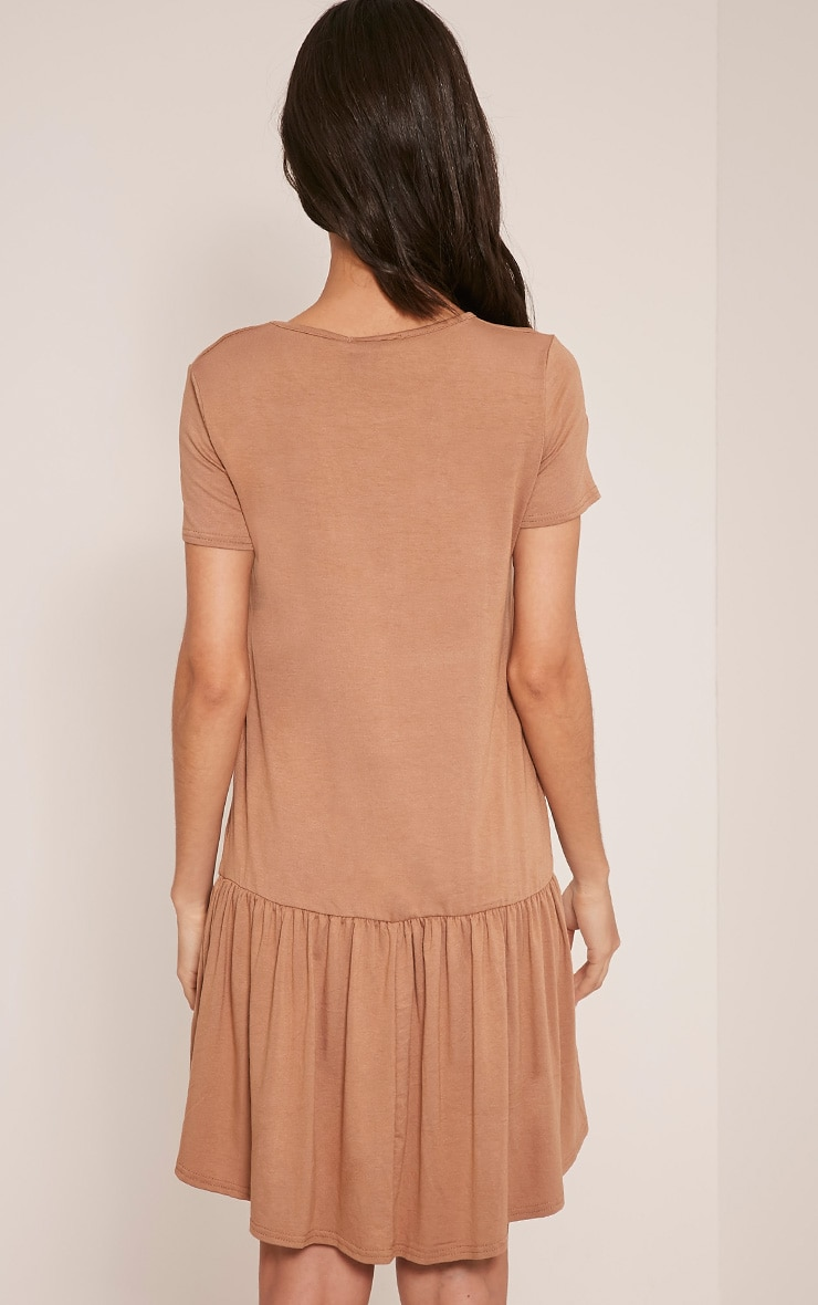 Tania Camel Drop Hem T shirt Dress 2