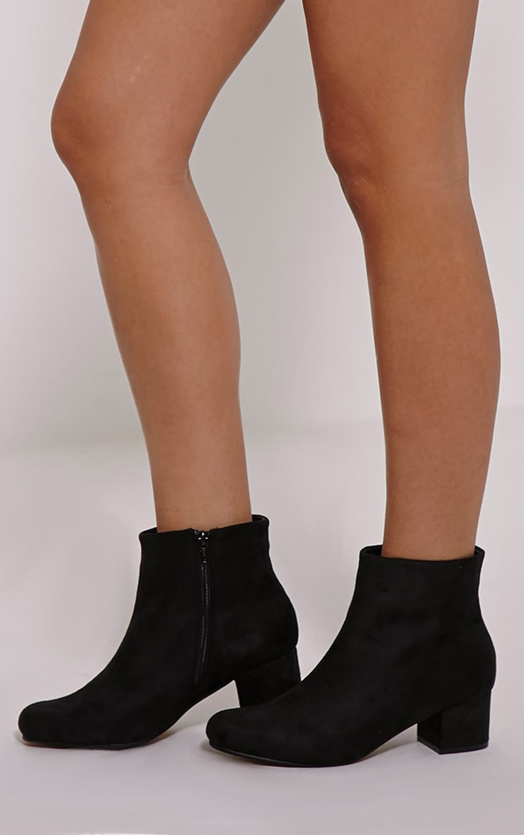 Stellah Black Faux Suede Heeled Ankle Boots 1