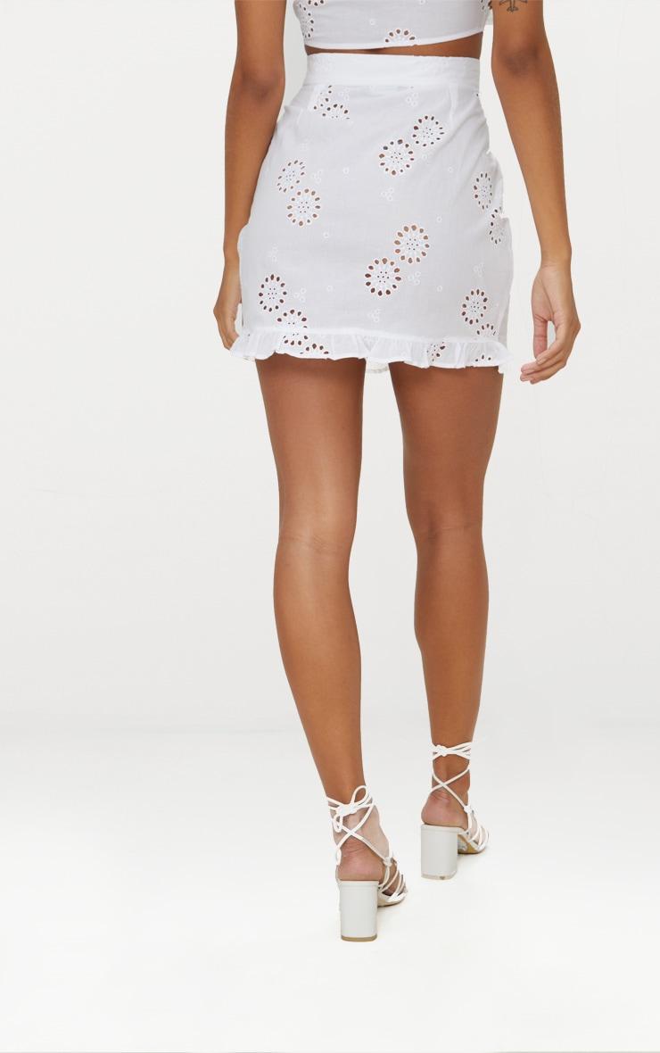 White Embroidered Frill Hem Mini Skirt 3