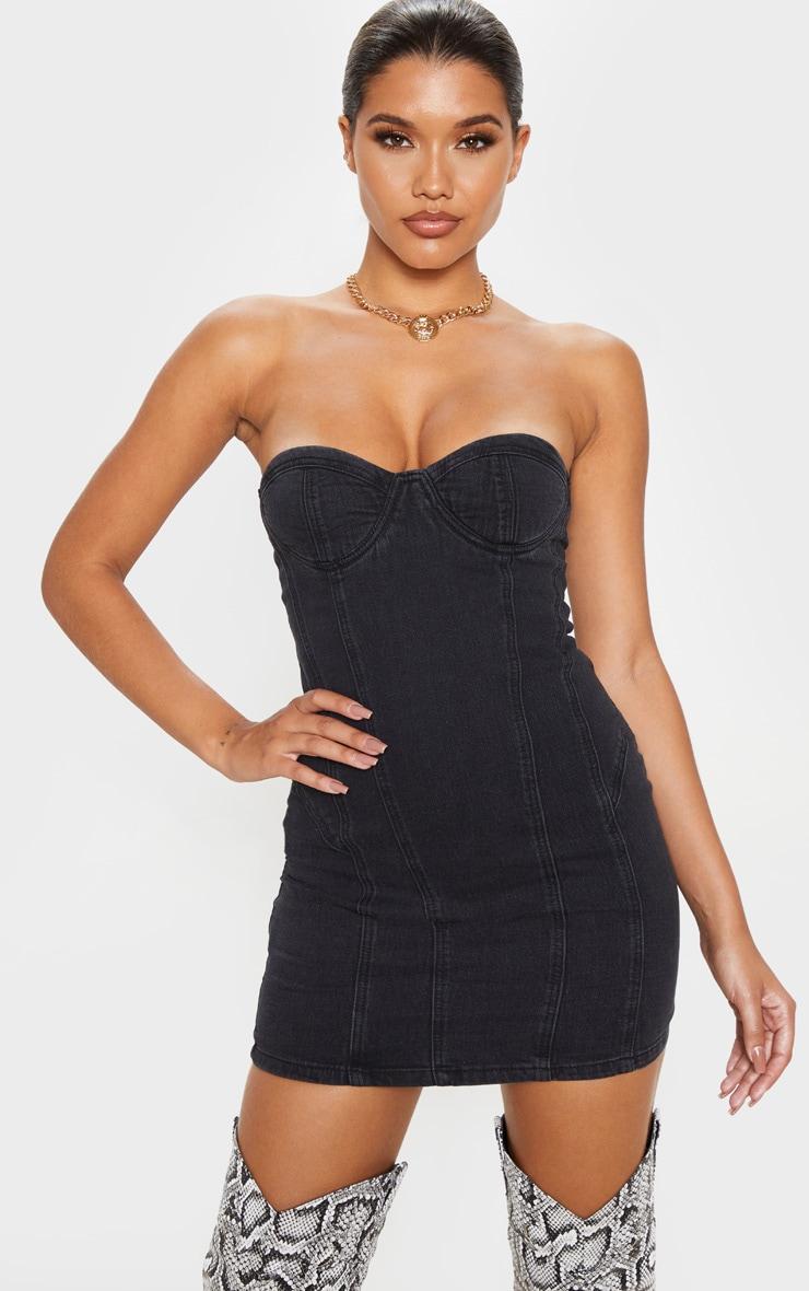 washed-black-bandeau-denim-dress- by prettylittlething