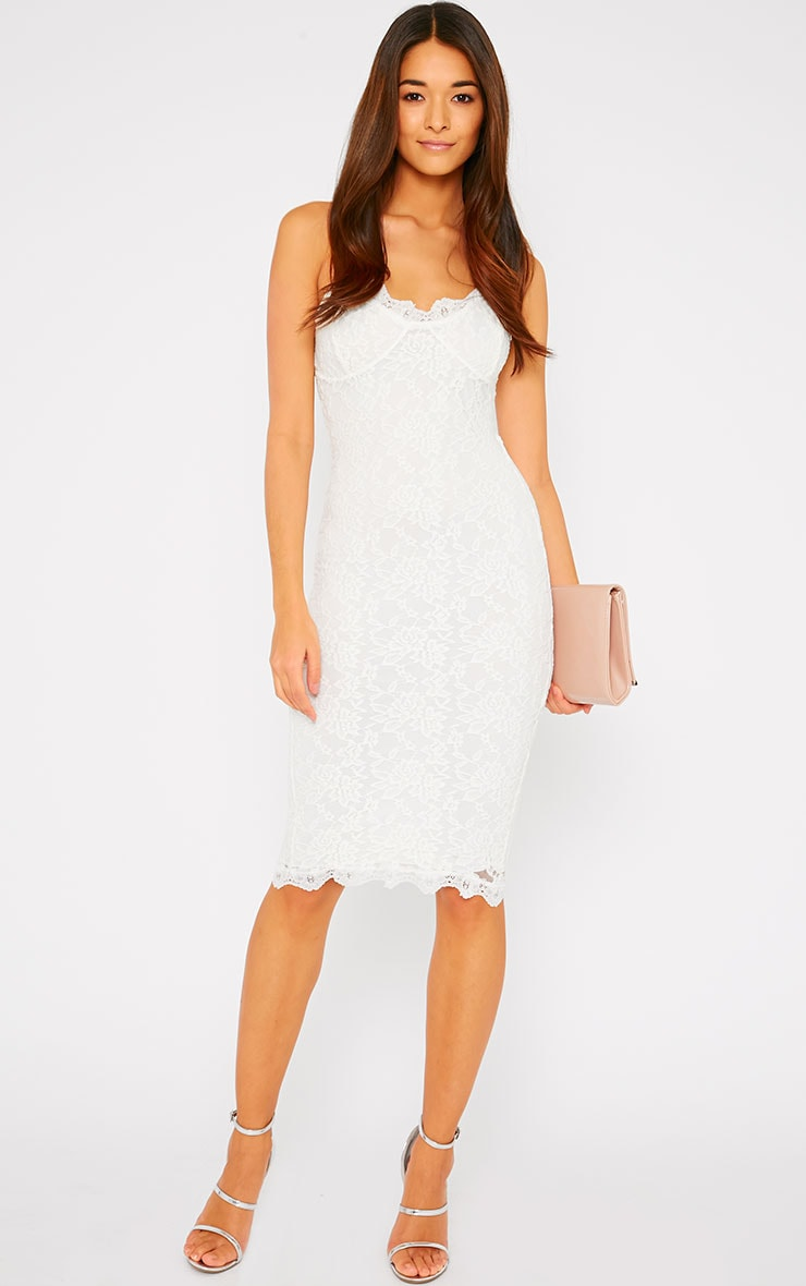 Isabelle Cream Lace Midi Dress 3