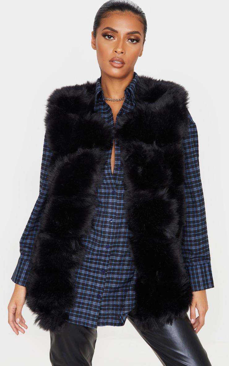 Black Faux Fur Longline Gilet 1