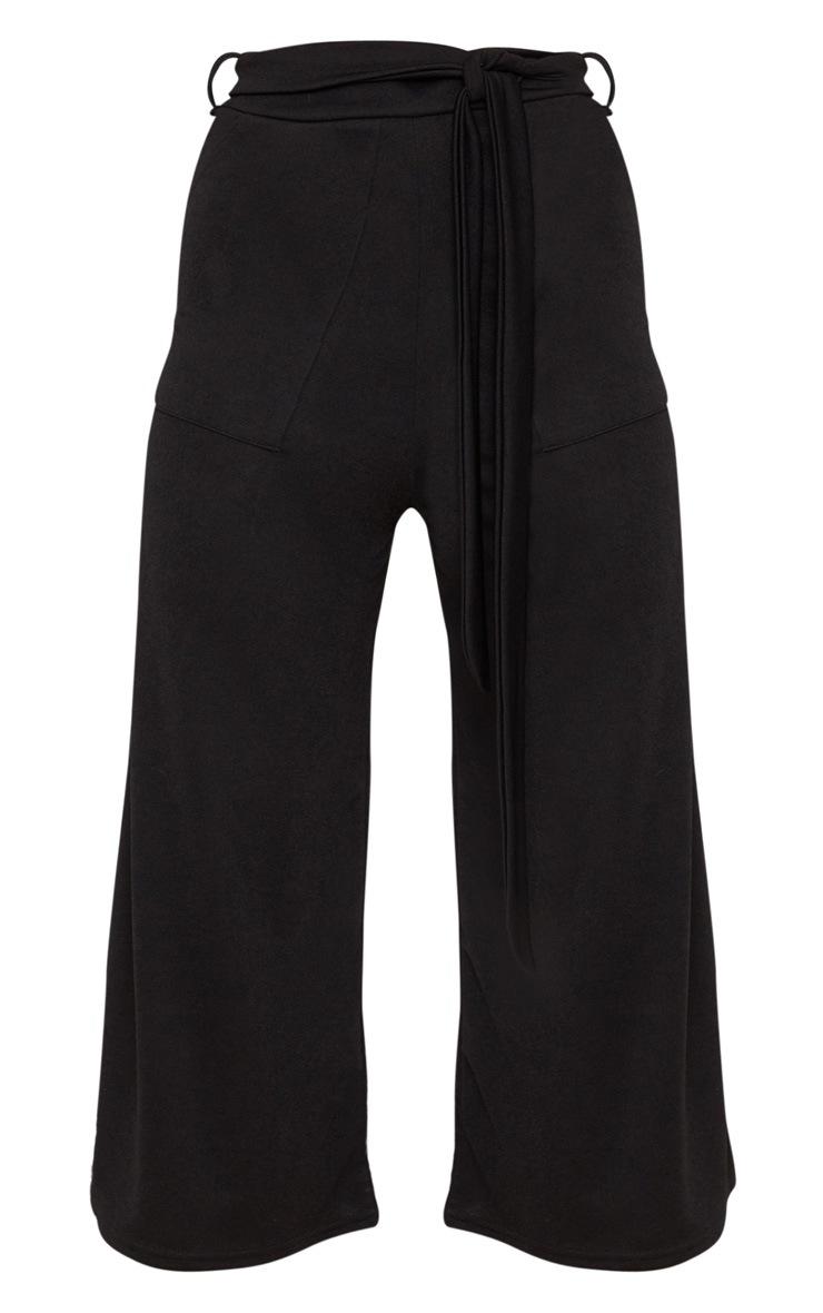 Jupe-culotte noire avec attache à la taille  3