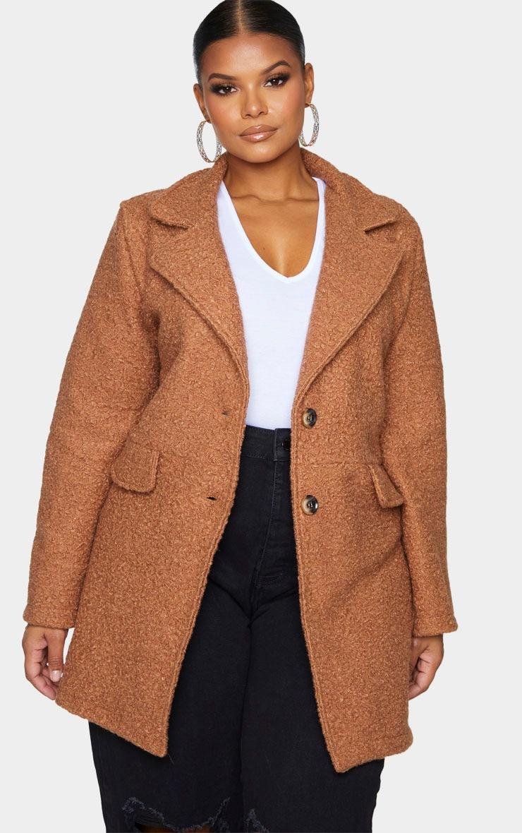 Plus Brown Teddy Button Down Coat 3