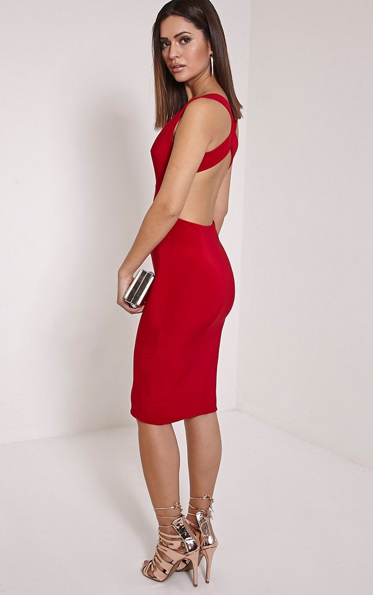 Biddy Red Deep V Plunge Cross Back Midi Dress 3
