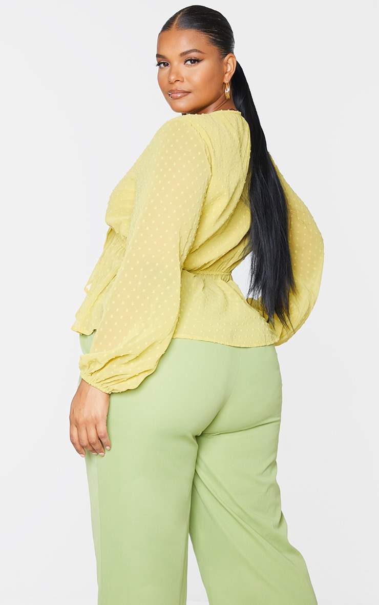 Plus Olive Dobby Mesh Tie Front Blouse 2